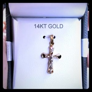 14k Gold Jesus on the Cross Pendant for necklace